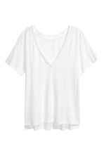 T-shirt in a linen blend - White - Ladies | H&M CN 2