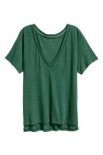 T-shirt in a linen blend - Dark green -  | H&M CN 2