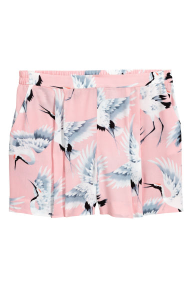 H&M+ Patterned shorts - Light pink/Birds - Ladies | H&M