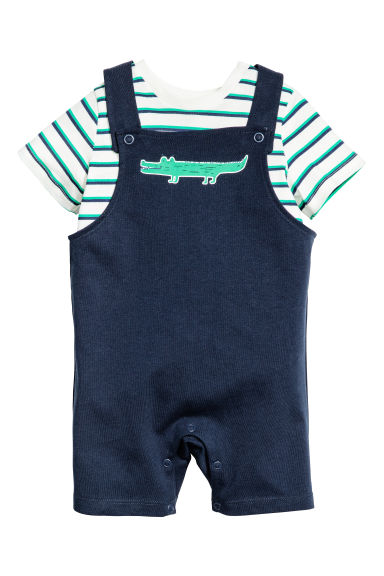 T-shirt and dungaree shorts - Dark blue - Kids | H&M