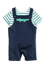 T-shirt and dungaree shorts - Dark blue -  | H&M CA 1