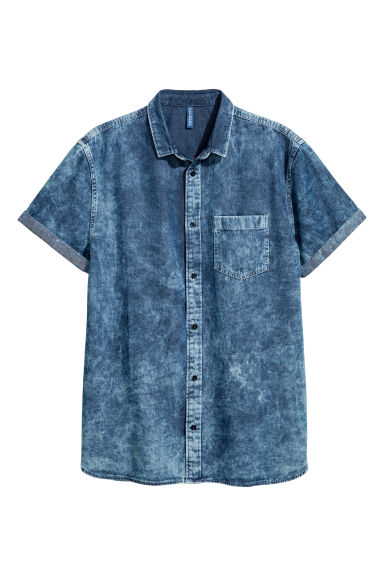 Short-sleeved denim shirt - Blue washed out - Men | H&M GB