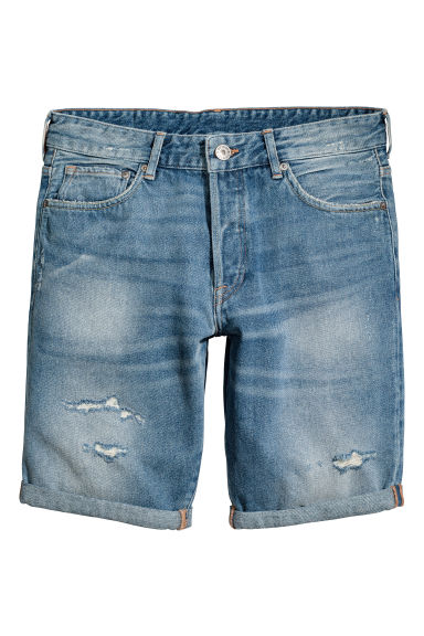 Denim shorts Trashed Low waist - Light denim blue - Men | H&M 1
