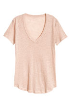 Linen jersey top - Powder pink marl - Ladies | H&M 2