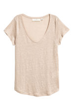 V-neck linen top - Light beige - Ladies | H&M 2