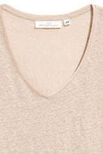V-neck linen top - Light beige - Ladies | H&M 3