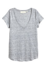 V-neck linen top - Grey marl - Ladies | H&M 2