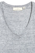 V-neck linen top - Grey marl - Ladies | H&M 3