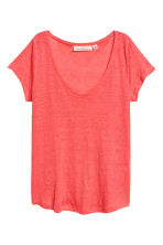 V-neck linen top - Coral pink - Ladies | H&M CN 2