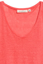 V-neck linen top - Coral pink - Ladies | H&M CN 3