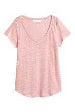 V-neck linen top - Light pink - Ladies | H&M CN 2