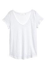 V-neck linen top - White - Ladies | H&M 2
