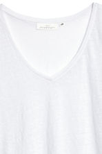V-neck linen top - White - Ladies | H&M 3