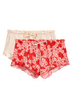 2-pack pyjama shorts - Red/Floral - Ladies | H&M 2