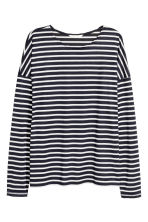 Striped jersey top - Dark blue/Striped - Ladies | H&M CN 2
