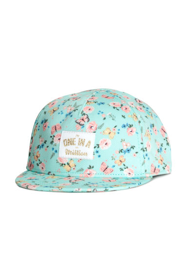 Cotton twill cap - Mint green/Butterflies -  | H&M CN 1