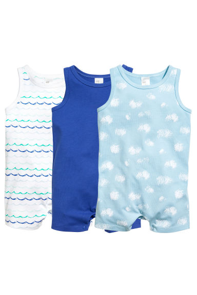 3-pack all-in-one pyjamas - Light blue -  | H&M 1