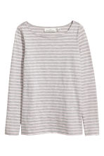 Top in slub jersey - Grey/Striped - Ladies | H&M 2