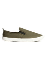 Slip-on trainers - Khaki green - Men | H&M 1