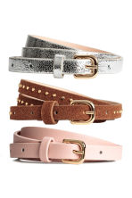 3-pack narrow belts - Brown/Pink - Ladies | H&M CN 1