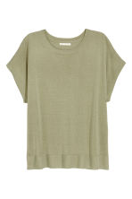 Fine-knit top - Light khaki green -  | H&M 2