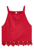 Crop top with a lace trim - Red - Ladies | H&M 2