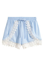 Shorts with lace details - Light blue - Ladies | H&M 2