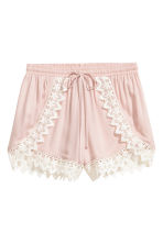 Shorts with lace details - Powder pink - Ladies | H&M CA 2