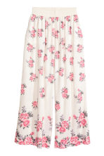 Wide trousers - Natural white/Floral - Ladies | H&M 2