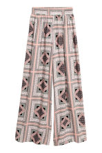 Wide trousers - Powder pink/Pattern - Ladies | H&M CN 2