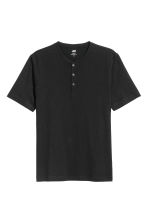 Short-sleeved Henley shirt - Black - Men | H&M 2