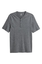 Short-sleeved Henley shirt - Dark grey marl - Men | H&M 3