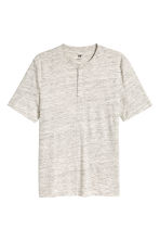 Short-sleeved Henley shirt - Light beige marl - Men | H&M CN 2