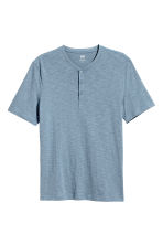 Short-sleeved Henley shirt - Pigeon blue - Men | H&M CA 2