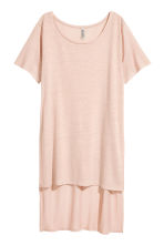 Long linen-blend T-shirt - Powder beige - Ladies | H&M 2