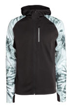 Hooded running jacket - Black/Patterned - Men | H&M CN 2