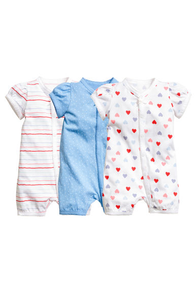 3-pack all-in-one pyjamas - Blue/Spotted - Kids | H&M