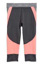 3/4-length sports tights - Dark grey marl - Kids | H&M CN 3