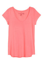 V-neck top - Neon coral - Ladies | H&M CN 2