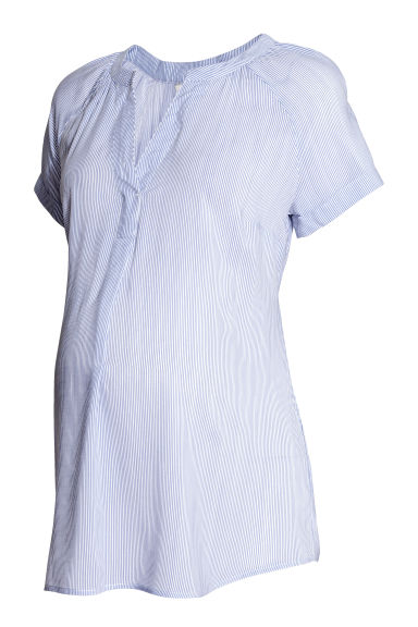 MAMA Patterned blouse - White/Blue striped - Ladies | H&M CN 1