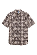 Patterned cotton shirt - Light beige/Leaf - Men | H&M CN 2