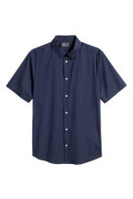 Short-sleeved stretch shirt - Dark blue - Men | H&M CN 2