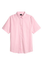 Short-sleeved stretch shirt - Light pink - Men | H&M CN 2