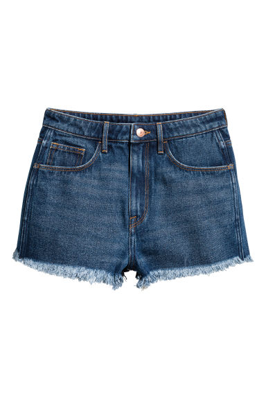 Denim shorts High waist - Dark denim blue - Ladies | H&M CN 1
