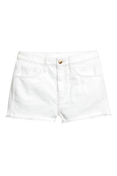 Denim shorts High waist - White denim -  | H&M 1