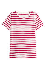 Cotton T-shirt - Cerise/Striped - Ladies | H&M CN 2