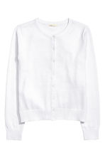 Fine-knit cotton cardigan - White - Ladies | H&M CN 2