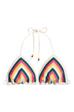 Crocheted triangle bikini top - Multicoloured - Ladies | H&M CN 2