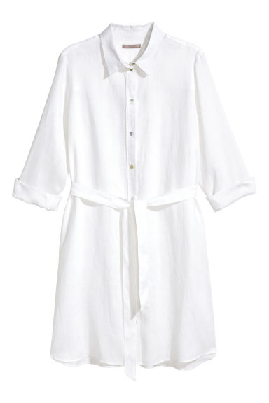 H&M+ Linen shirt dress - White - Ladies | H&M CN 1
