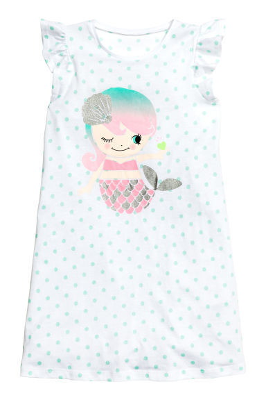 Nightdress with a print motif - White/Mermaid - Kids | H&M CN 1